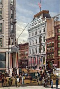 Telephone Pole Framed Prints - New York Stock Exchange In 1882 Framed Print by Everett