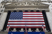 American Flag Manhattan Framed Prints - New York Stock Exchange With American Flag, Nyc Framed Print by Rudi Von Briel