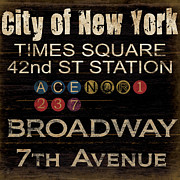 Vintage Sign Prints - New York Subway Print by Grace Pullen