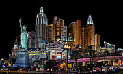 Las Vegas Landscape Framed Prints - New York Vegas Style Framed Print by James Heckt
