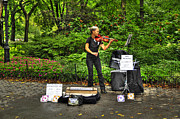 Central Park Photo Originals - New York Violinist at Central Park by Randy Aveille