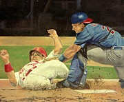 Baseball Painting Posters - New York vs St. Louis Poster by Douglas Fincham