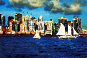 Skyline Pastels Posters - New York Yacht Club Poster by Stefan Kuhn