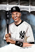 Baseball Drawings Posters - New York Yankee Derek Jeter Poster by Dave Olsen