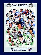 2009 Drawings Prints - New York Yankees 2009 World Series Champions Print by Dave Olsen