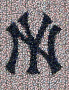 Yankees Mixed Media Framed Prints - New York Yankees Bottle Cap Mosaic Framed Print by Paul Van Scott