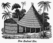 19th Century Architecture Prints - New Zealand: Maori Hut Print by Granger
