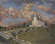 Clouds Painting Framed Prints - New Zealand temple Framed Print by Jeff Brimley