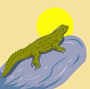 New Zealand Prints - New Zealand Tuatara Retro Print by Aloysius Patrimonio
