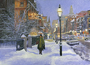 Snowfall Paintings - Newbury and Exeter Streets by Candace Lovely