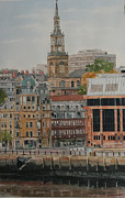 Courts Paintings - Newcastle Law Courts and All Saints Church by George Levitt