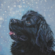 Christmas Dog Posters - Newfoundland in Snow Poster by Lee Ann Shepard