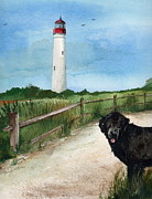 Split Rail Fence Painting Prints - Newfy at Cape May Light  Print by Nancy Patterson