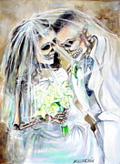 Bride And Groom Paintings - Newly Deads by Heather Calderon