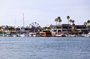Sail Boats Prints - Newport Beach Balboa Fun Zone Print by Paul Velgos