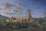 Morning Painting Posters - Newport Beach Temple Poster by Jeff Brimley