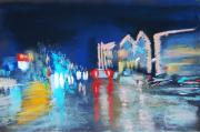 Street Scene Pastels - Newport Blvd in the Rain by Sandra Ortega