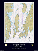 Nautical Chart Prints - Newport Harbor Print by Adelaide Images