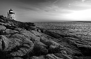 New England Lighthouses Prints - Newport Rhode Island-Castle Hill Black and White Print by Thomas Schoeller