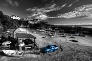 Beach. Black And White Posters - Newquay Harbour  Pickup  Poster by Rob Hawkins