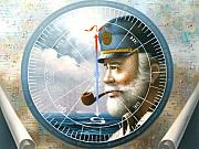 World Map Canvas Painting Posters - NEWS  MAP CAPTAIN  or  SEA CAPTAIN Poster by Yoo Choong Yeul