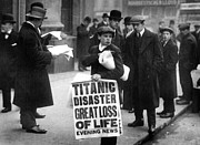 Crowds  Framed Prints - Newsboy Ned Parfett announcing the sinking of the Titanic Framed Print by English School