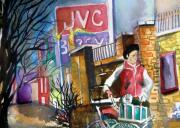 City Scene Drawings Prints - Newspaper Boy Print by Mindy Newman