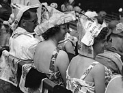 Wimbledon Photo Posters - Newspaper Hats Poster by Fox Photos