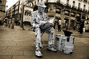 Espana Metal Prints - Newspaper Man Metal Print by Rob Hawkins