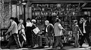 Cities Drawings Prints - Newsstand Print by Jerry Winick