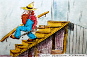 Humorous Drawings Posters - Newt Descending a Staircase Poster by Ross Powell