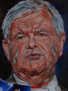 Mitt Paintings - Newt Gingrich by Alex Krasky