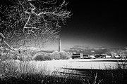 Outside Ice Framed Prints - Newtownabbey borough council hq mossley mill and mossley lake frozen on a cold snowy winters day Framed Print by Joe Fox