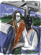 Bus Mixed Media - Next Stop by Russell Pierce