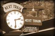 Trains Photos - Next Train Clock in Sepia by Tam Graff