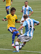 Neymar Junior Posters - Neymar Breaking Ankles II Poster by Lee Dos Santos