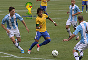 Neymar Junior Posters - Neymar Doing His Thing FIFA Logo Poster by Lee Dos Santos