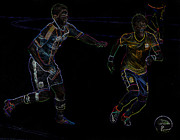 Neymar Junior Posters - Neymar Doing His Thing Neon Poster by Lee Dos Santos