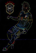 Neymar Photos - Neymar Neon II by Lee Dos Santos