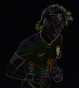 The Hulk Photo Prints - Neymar Neon Print by Lee Dos Santos