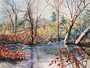 Brook  Pastels Metal Prints - Nezinscot Fall Metal Print by Geoffrey Workman