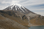 Snow-covered Landscape Prints - Ngauruhoe Cone And Upper Tama Lake Print by Richard Roscoe