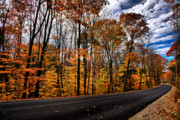 Nh Framed Prints - NH Autumn Road 2 Framed Print by Edward Myers