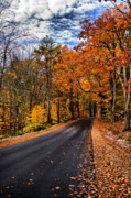 Nh Framed Prints - NH Autumn Road 3 Framed Print by Edward Myers