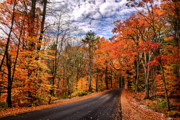 Nh Framed Prints - NH Autumn Road 4 Framed Print by Edward Myers