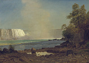Fall  Of River Paintings - Niagara Falls by Albert Bierstadt