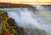 Niagara Posters - Niagara Falls Autumn Sunset Poster by Charline Xia