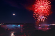 4th July Photo Prints - Niagara Falls Fireworks Print by Charline Xia
