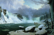 New York Winter Framed Prints - Niagara Falls Framed Print by Hippolyte Victor Valentin Sebron