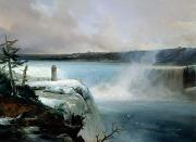 Rushing Water Paintings - Niagara Falls by Jean Charles Joseph Remond